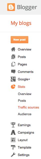 Blogger Stats Menu