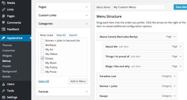 Adding custom menus by category