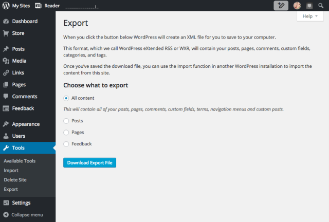 Export your content 3